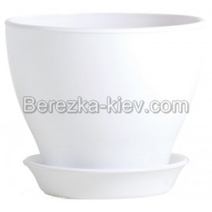 Горшок глянец белый (диаметр 8,5 см.)