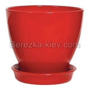 Горшок глянец красный (диаметр 8,5 см.)