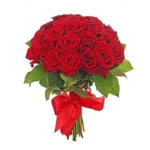 Букет из красных роз 25 шт. высота 50-60см.