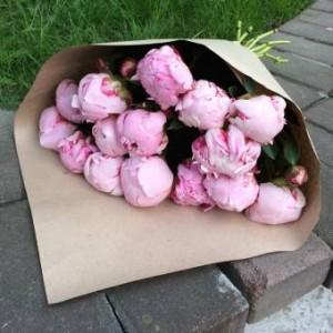 Букет из розовых пионов 9 шт