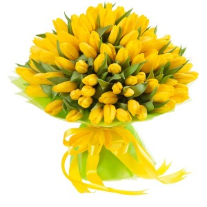 Букет из желтых тюльпанов 71 шт.