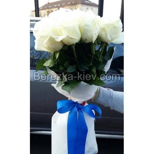 Букет из белых роз 21 шт. высота 60-70 см.