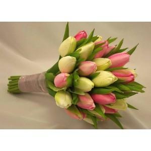Букет из розово-зеленых тюльпанов 21шт.