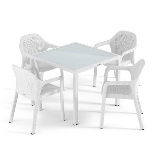 Набор белый (маленький стол + 4 стула) Lechuza (Германия)
