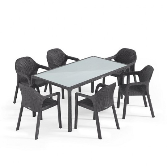 Набор гранит (большой стол + 4 стула) Lechuza (Германия)