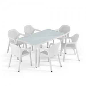 Набор белый (большой стол + 4 стула) Lechuza (Германия)