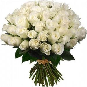 Букет из белых роз 27 шт. высота 50-60см.