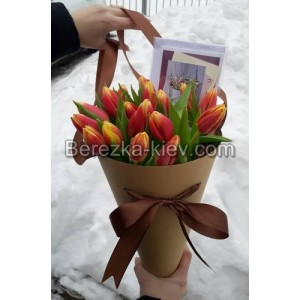Букет из тюльпанов 19 шт. в конусе.